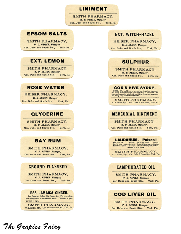 photo about Free Printable Vintage Apothecary Labels identified as Cost-free Printable Typical Pharmacy Labels - The Graphics Fairy