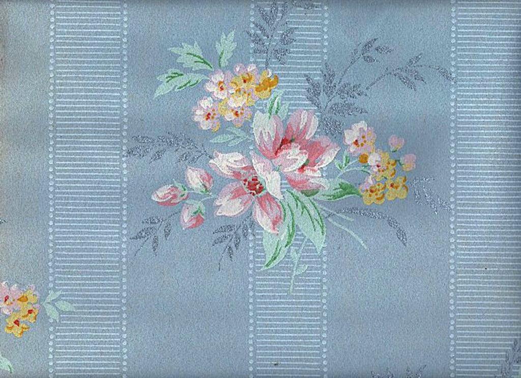 Vintage Blue Floral Wallpaper