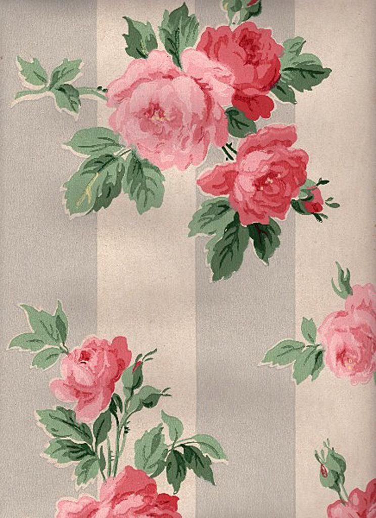 Vintage Cabbage Roses Wallpaper