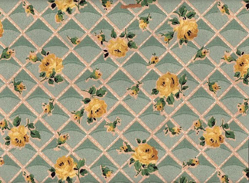 Vintage Yellow Roses Trellis Wallpaper