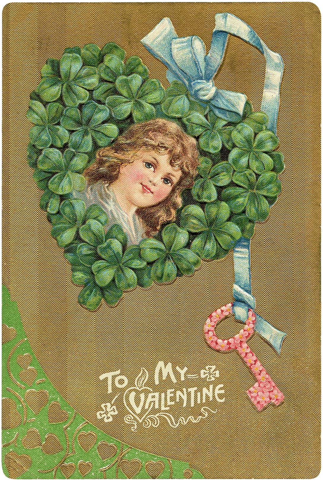 Valentine Shamrock Heart Girl