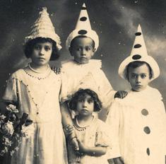 Children dressed as clowns photo