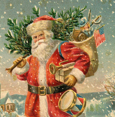 Santa with Red Coat and Tree