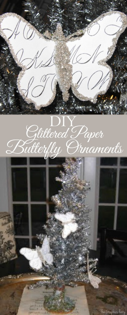 DIY Glittered Paper Butterfly Ornaments