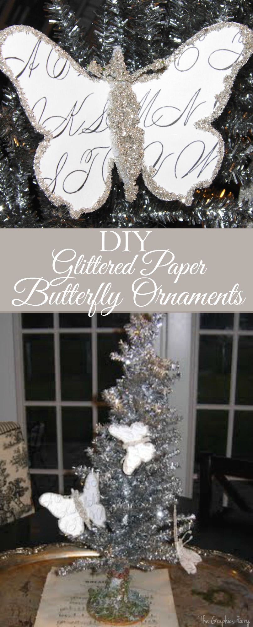 Craft Christmas Project – Glittered Paper Butterfly Ornaments
