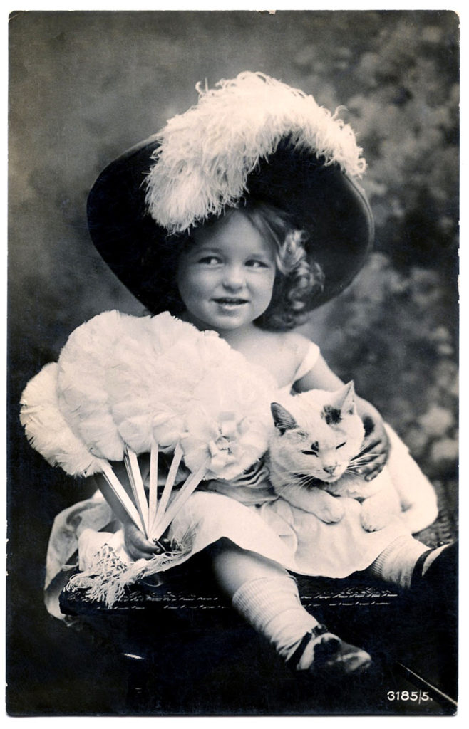 Fancy Little Girl with Cat