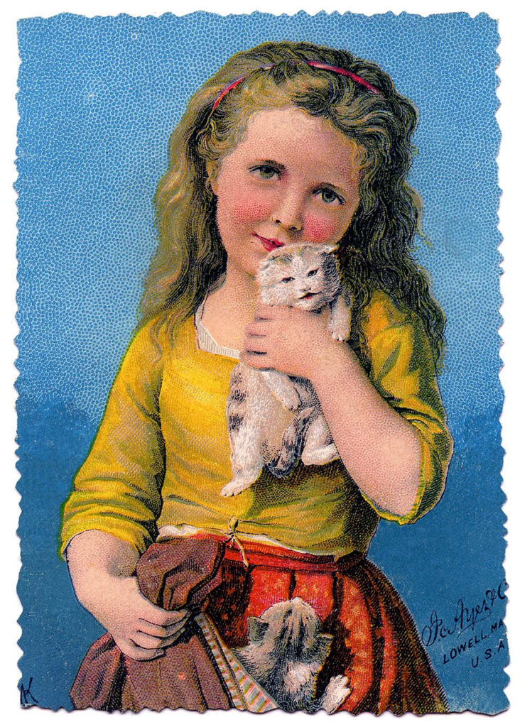 Girl with Kittens Clip Art