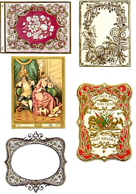 graphic regarding Free Printable Vintage Images named Typical Printable - French Material Labels - Collage Sheet
