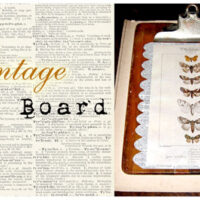 Vintage Decorative Clipboard with Moth Print