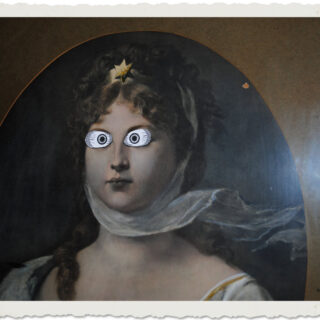 Antique Print of lady with Spooky Eyes