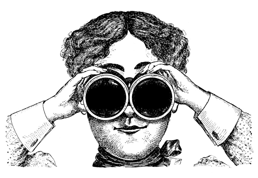 Steampunk Lady Image with Binoculars