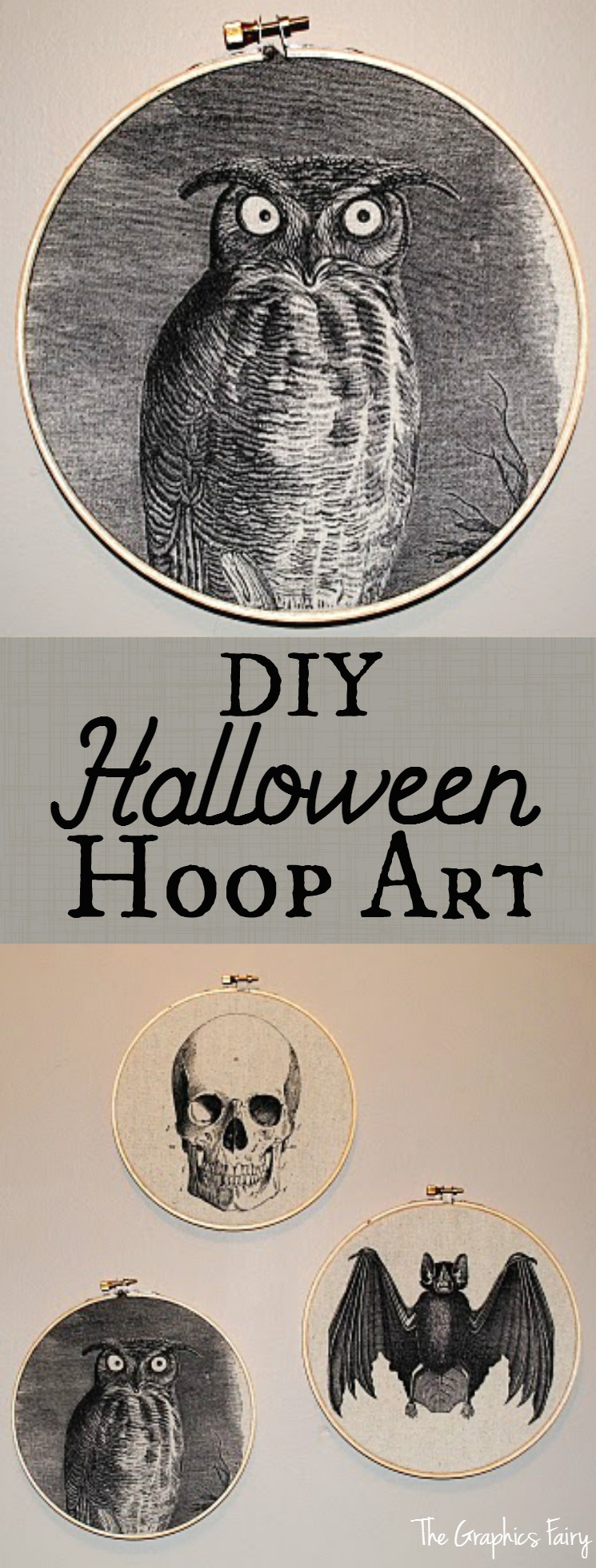 DIY Halloween Hoop Art - The Graphics Fairy