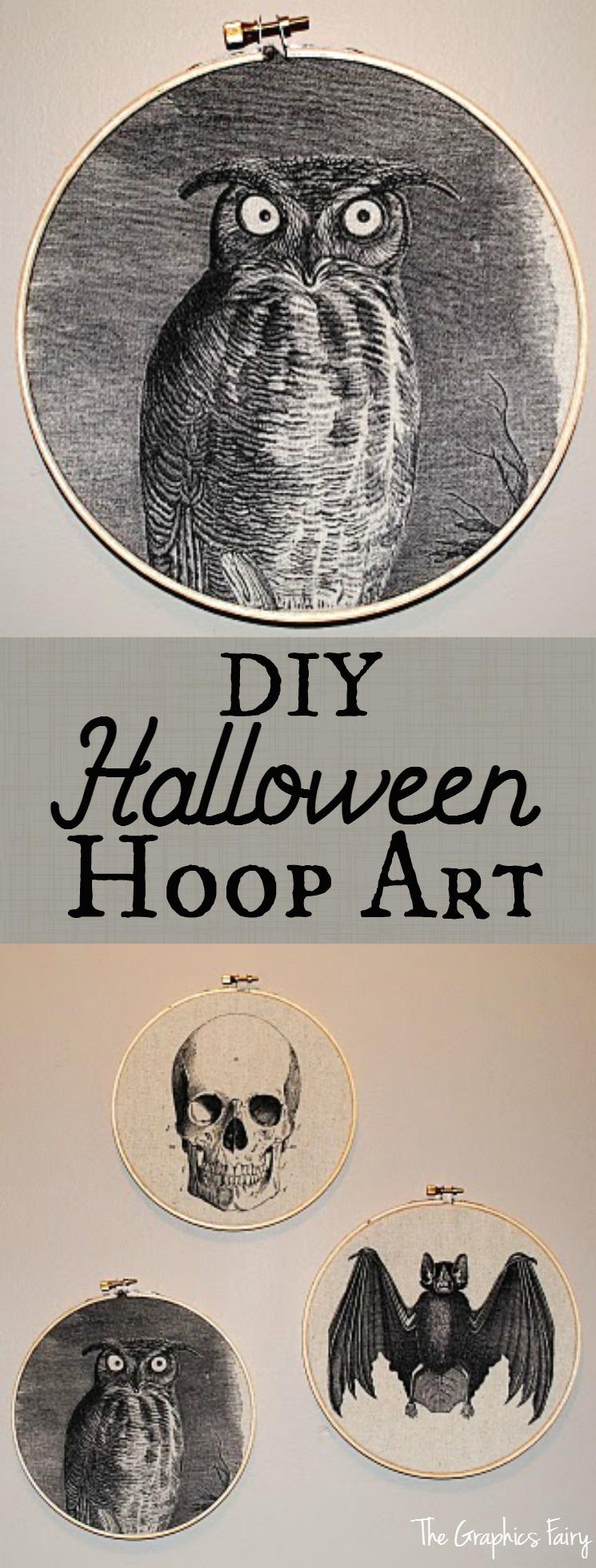 DIY Halloween Hoop Art - The Graphics Fairy