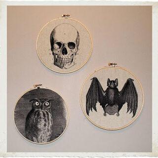 Halloween Wall Decor DIY with Owl, Bat and Skull