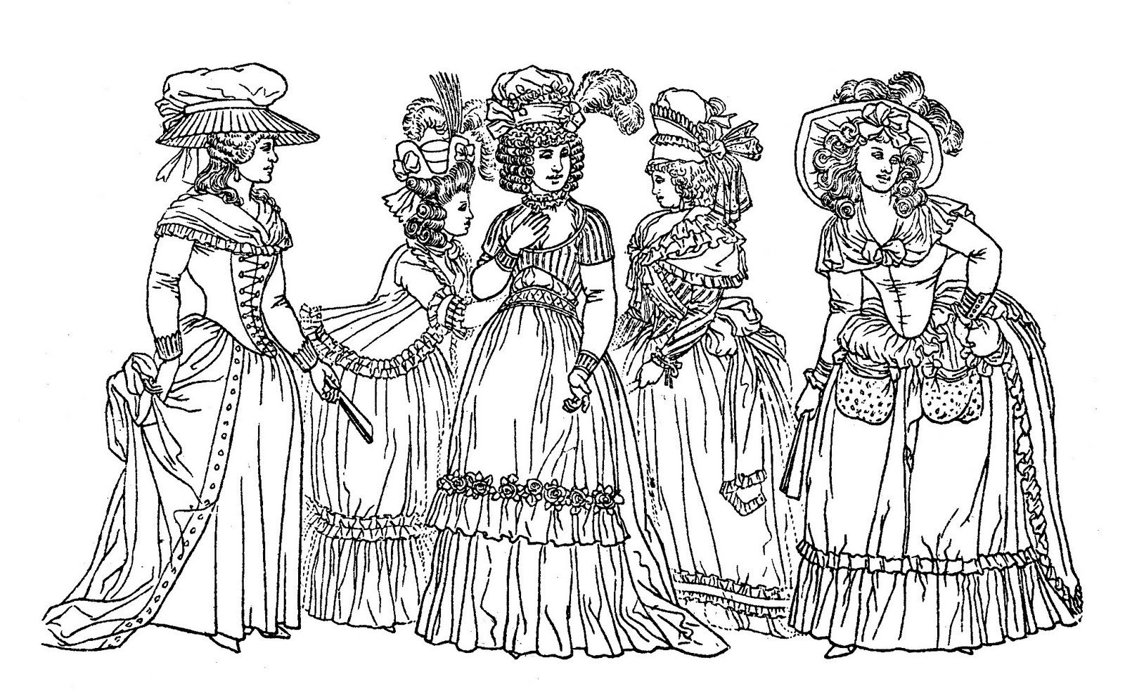 Costume Ladies Printable Coloring Page