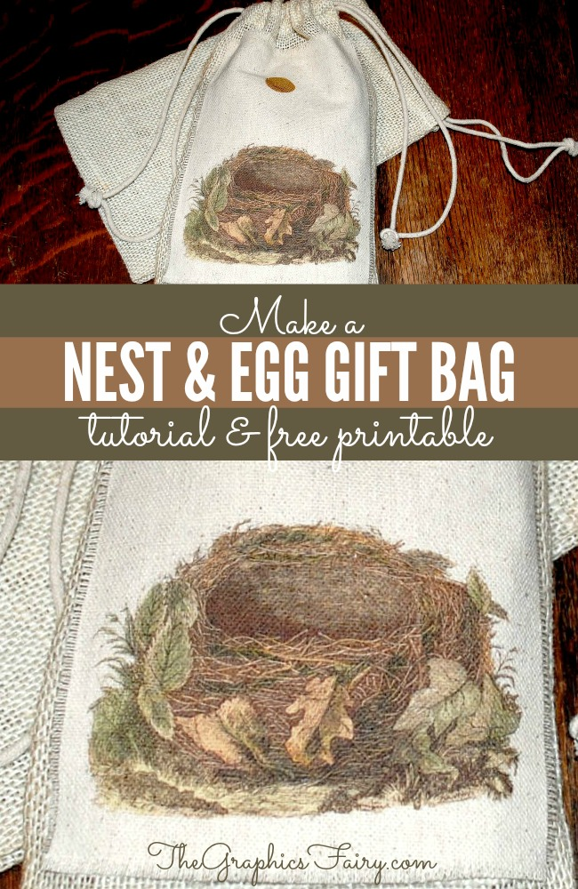 Crafty Project - Morris Nest and Egg Gift Bag - Plus Instant Art Printable - The Graphics Fairy