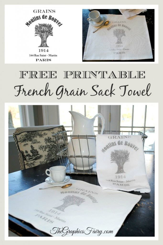 Crafty Project & Printable - French Grain Sack Towel - The Graphics Fairy