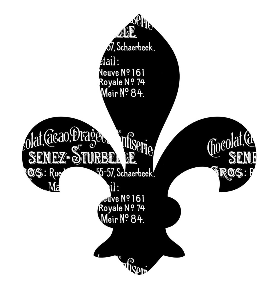 Fleur de Lis Clipart with French Words Overlay