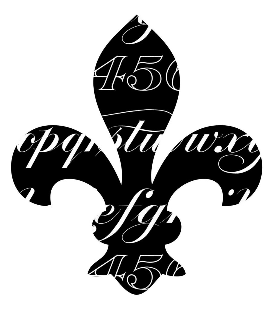 Fleur de lis with Typography overlay