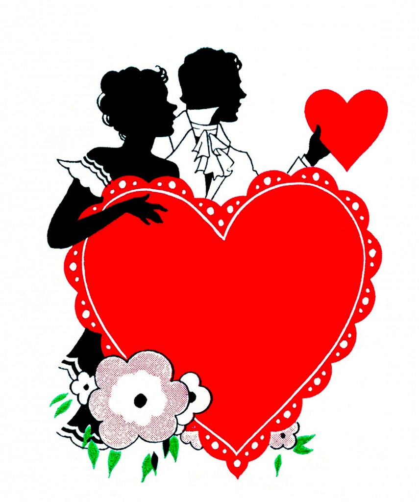 Valentine Couple Silhouette Large Red Heart