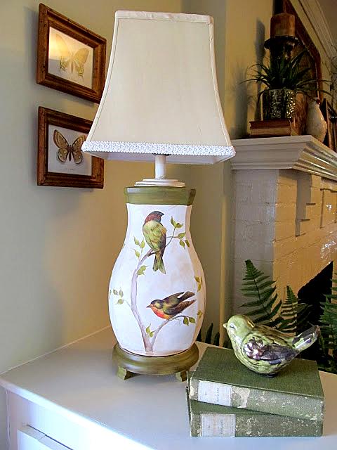Decoupage Lamp Birds