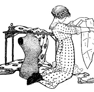 Vintage Sewing Clip Art – Girl with Pattern and Dress Form