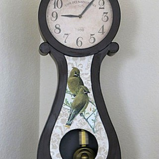 Decoupaged Bird Clock
