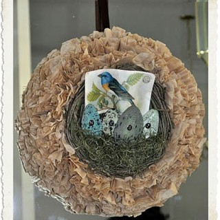 Bird and Egg Coffee Filter Wreath