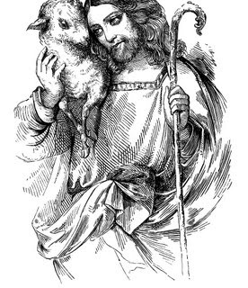 Vintage Easter Graphics – Jesus with Lamb and Cross