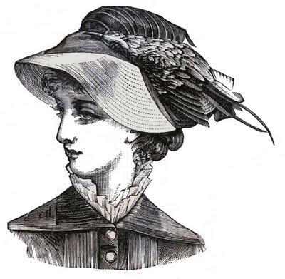 Victorian Clip Art 3 Hat Wearing Heads Ladies The