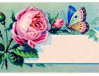 Vintage Images – Label – Rose & Butterfly