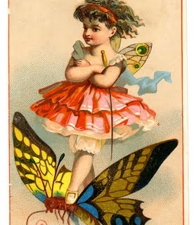 Vintage Image – Cute little Fairy on Butterfly