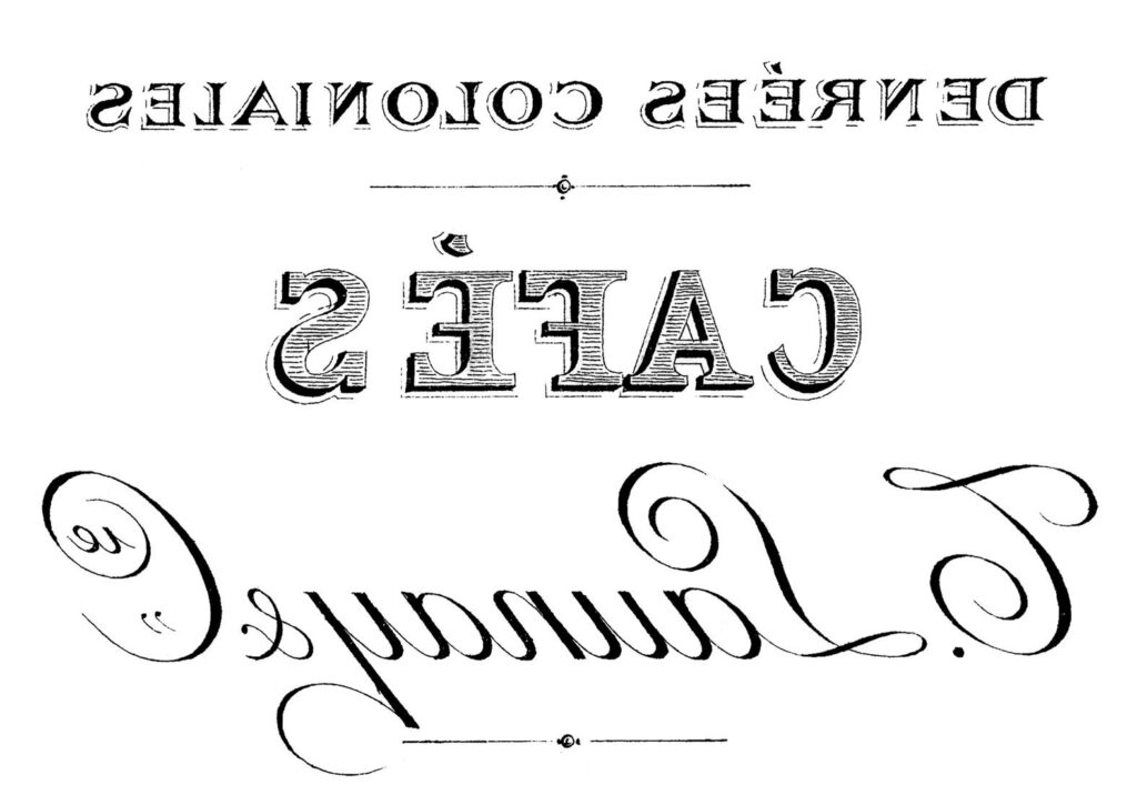 French Cafe Typography Printable Mirrored