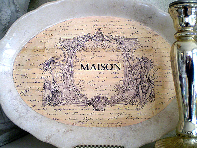 Decoupaged Ironstone Platters