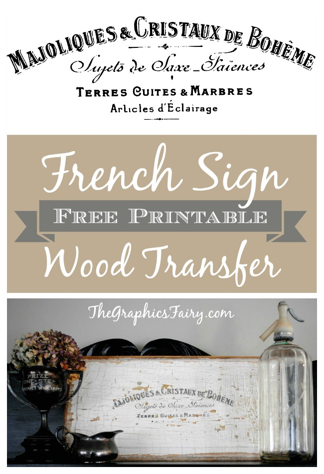 French Sign Wood Transfer Printable - The Graphics Fairy
