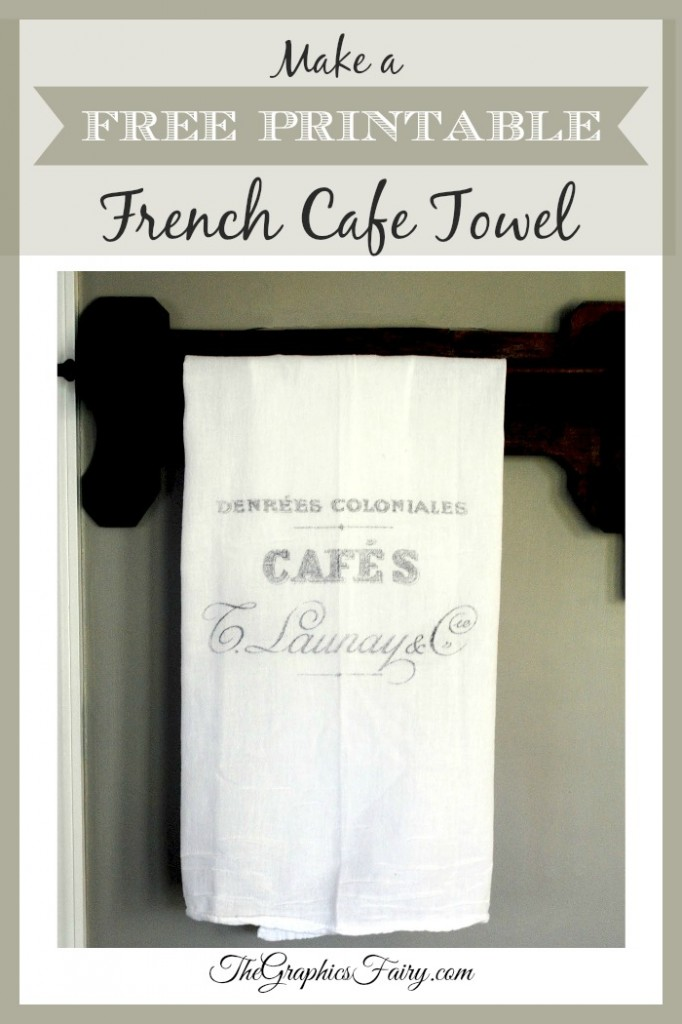 French Cafe Towel - Printable Transfer Project - The Graphics Fairy