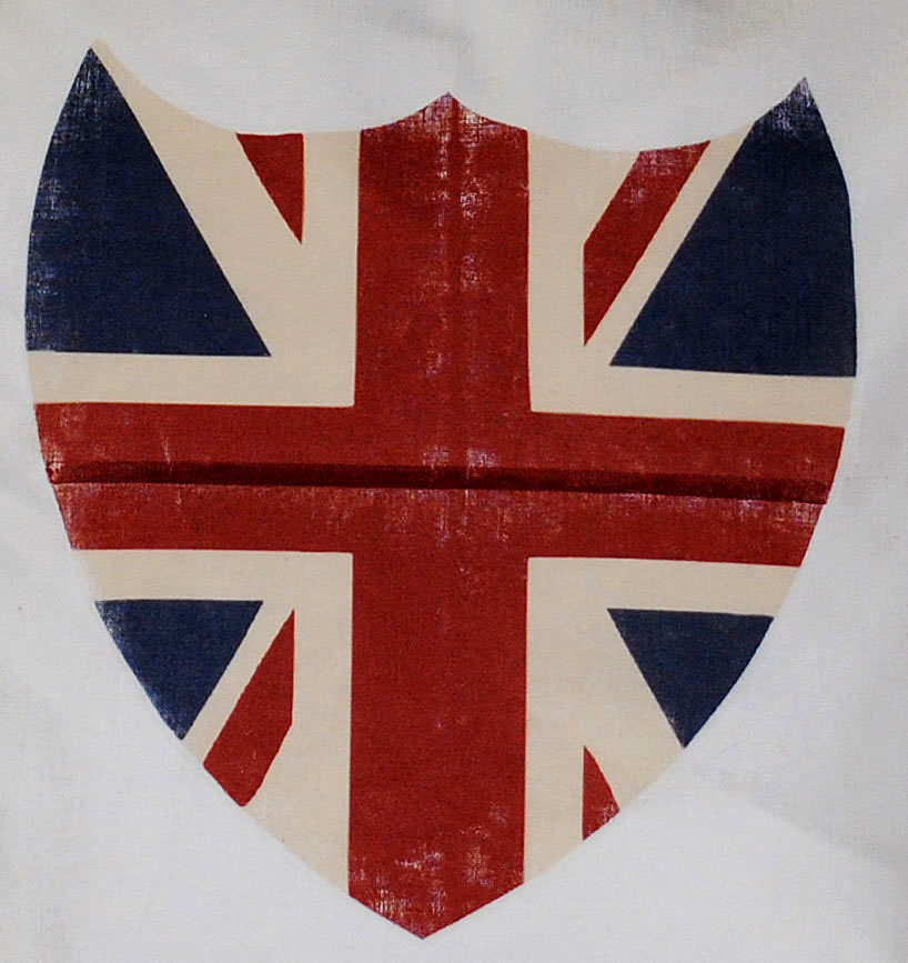 Close up of Union Jack Shield Transfer