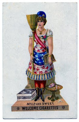 Vintage Clip Art Patriotic Lady With Broom The