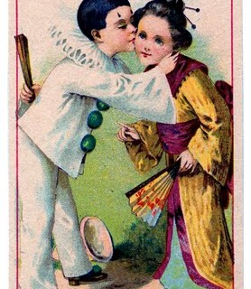 Vintage Clip Art – Pierrot Clown Boy with Kimono Girl