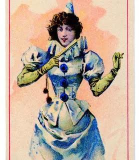 Vintage Clip Art – Pierrot Lady with Fan