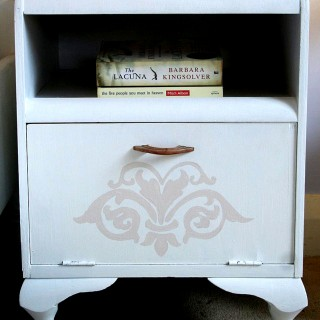 Lovely Painted Damask Nightstand
