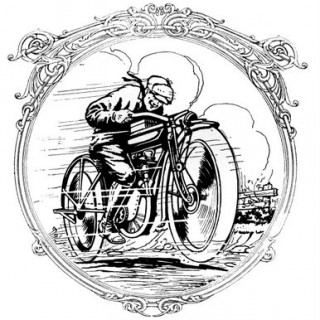 Vintage Clip Art – Motorcycle Man – Father's Day