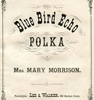 Vintage Ephemera Graphic – Sheet Music Cover – Blue Bird Polka