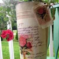 Decoupaged French Letter Planter