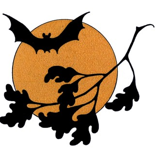 Halloween Bat Moon Vintage Image