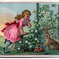 Victorian Graphic - Little Girl with Rabbit