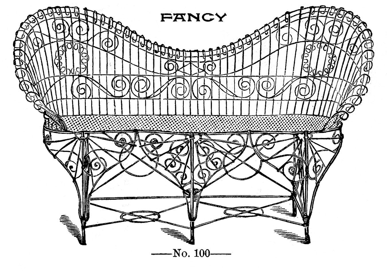 vintage clip art - fancy wire settee - garden