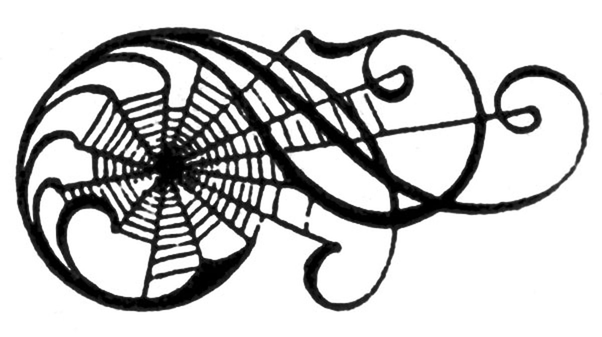 Line Drawing Of Witches Face : Vintage halloween clip art awesome spiderweb scrolls