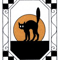 Halloween Black Cat Vintage Image