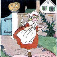 Girl with Pumpkin Halloween Image